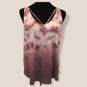 Mudd rose taupe tie dye strappy v-neck tank